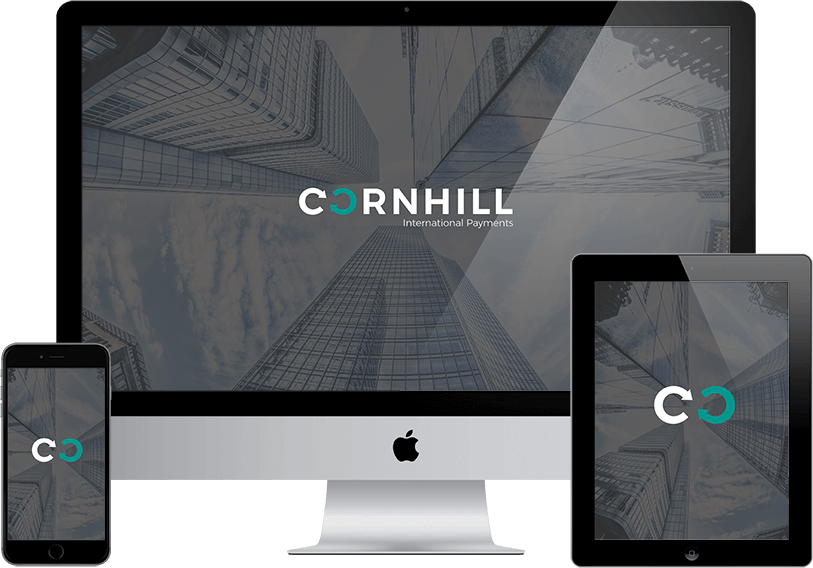Cornhill Website visual on Desktop, Mobile and Tablet
